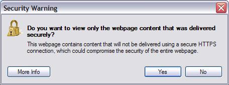 Internet Explorer Security Dialog